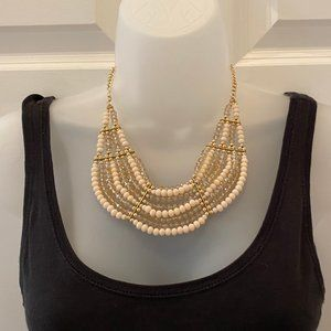 Gold and Pink Beaded Statement Necklace